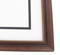 "wood Custom Picture Frame Sku: AAM6002  1 1/4"" Walnut With Beaded Gold Lip"