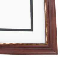 "wood Custom Picture Frame Sku: AAM6003  1 1/4"" Mahogany With Beaded Gold Lip"