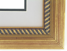 "Custom Picture Frame Sku: AAM6006  2"" Distressed Gold With Rope Lip"