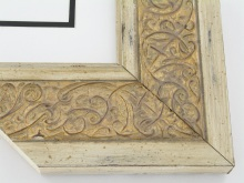 "Custom Picture Frame Sku: T2028  3-1/2"" Ornate Gold Scroll W Distressed Ivory Edge"
