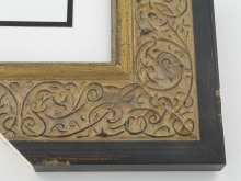 "Custom Picture Frame Sku: T2029  3-1/2"" Ornate Gold Scroll W Distressed Black Edge"