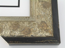 "wood Custom Picture Frame Sku: T2030  3-1/2"" Ornate Silver Scroll W Distressed Black Edge"