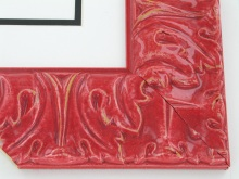 "wood Custom Picture Frame Sku: T2045  3"" Pomegranite Red High Gloss Ornate"