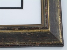 "Custom Picture Frame Sku: W42-431  2"" Aged Black Gold"