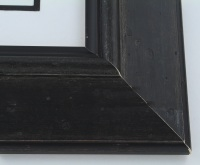 "Custom Picture Frame Sku: W43-430  3 1/2"" Aged Black Silver"